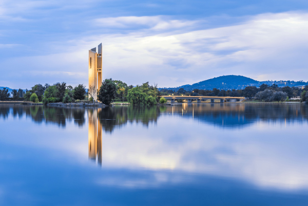 In the distance cars pass                 Lake Burley Griffin, Canberra, Australian Capital Territory