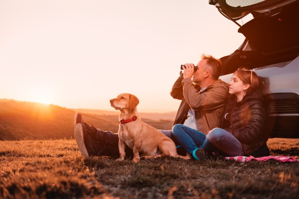 A father, daughter and their dog lean against their car watching the sunset.