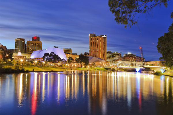 Adelaide city CBD at sunrise                 reflecting in still waters of the River Torrens